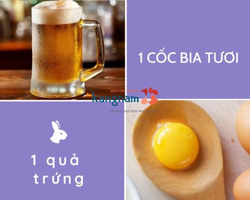 tắm trắng bằng bia và trứng gà