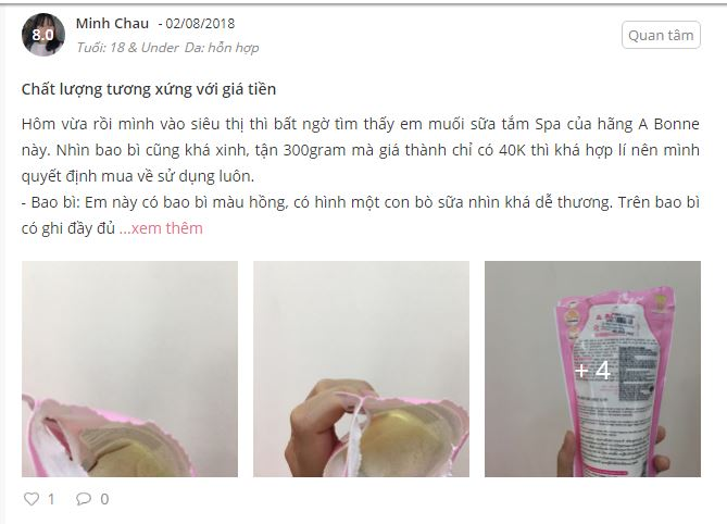 Review  muối tắm spa milk salt