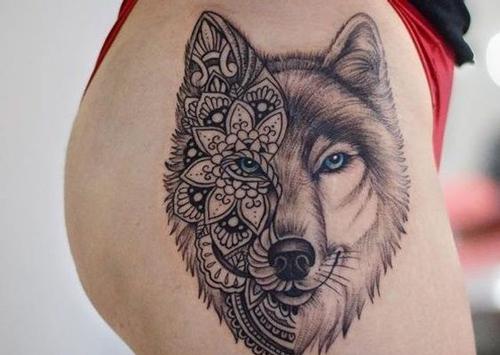 hình xăm đầu sói đẹp