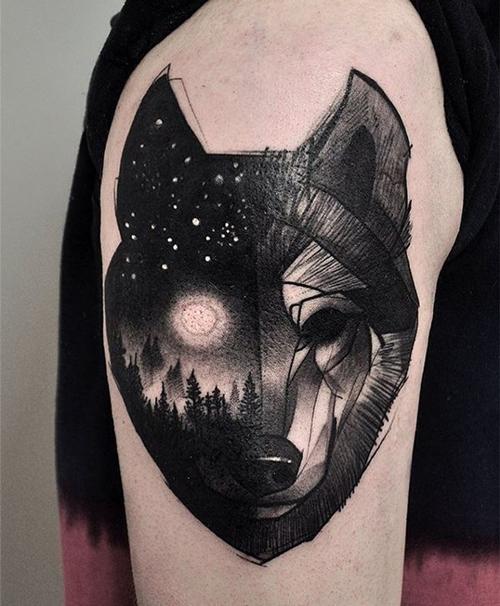 hình xăm đầu sói