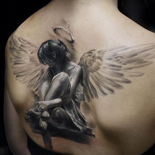 xăm cánh thiên thần ở lưng