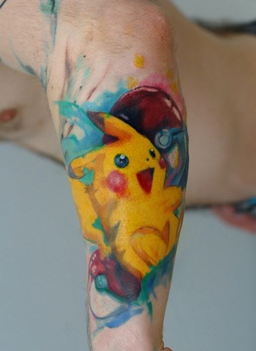 tattoo pikachu bít tay