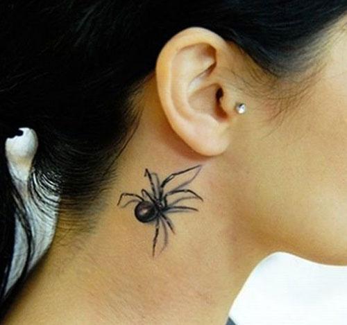 hình xăm con nhện ở cổ