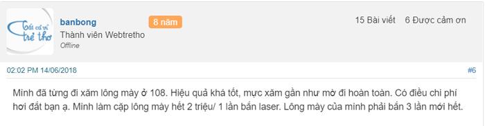 xóa xăm bằng laser tại bệnh viện 108